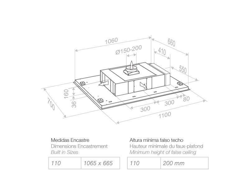 Campana de techo e 205 pando estudio proyecta - Campana extractora medidas ...