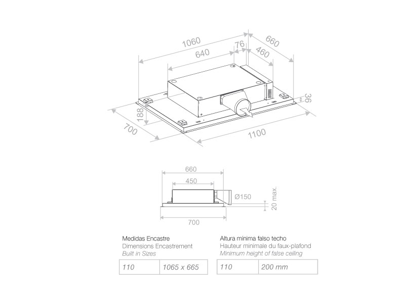 Campana de techo e 215 pando estudio proyecta - Campana extractora medidas ...